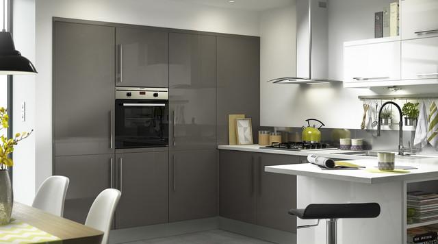 santini gloss anthracite slab kitchen contemporary