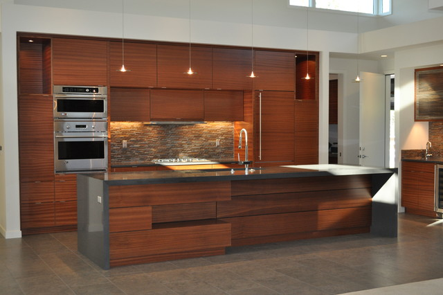 Charmant Example Of A Trendy Kitchen Design In Other With An Undermount Sink,  Flat Panel