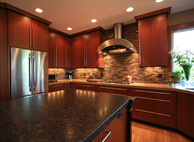 Sapele Kitchen Remodel - Contemporary - Kitchen - portland - by Pilgrims Custom Cabinets ...