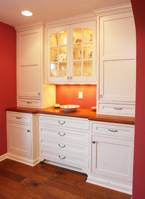 Sapele Mahogany Top Hutch/White China Cabinet - Kitchen - by Craft Art ...