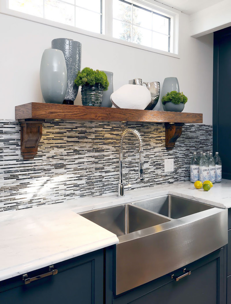 Kitchen - transitional kitchen idea in Other with a farmhouse sink, recessed-panel cabinets, blue cabinets, multicolored backsplash and matchstick tile backsplash