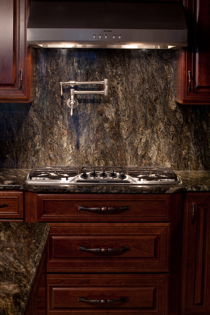 Saturnia granite modern kitchen dc metro by for Cherry kitchen cabinets with black granite