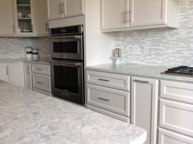 Large Trendy Eat In Kitchen Photo Providence With White Cabinets Quartz Countertops