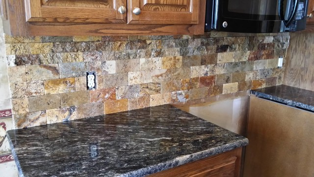 Scabos Split Face Tile Backsplash With Cordoba Granite Counte Top Eclectic Kitchen
