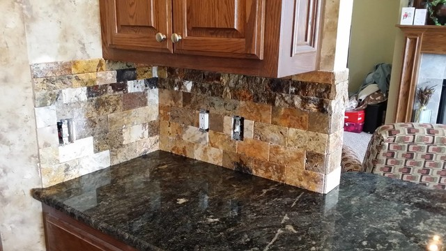 Scabos Split face tile backsplash with Cordoba Granite Counte Top