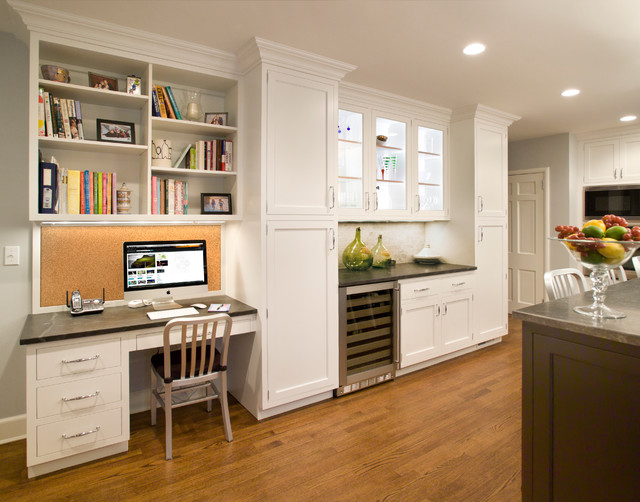 example of a large transitional u shaped medium tone wood floor and brown floor enclosed - Kitchen Desk