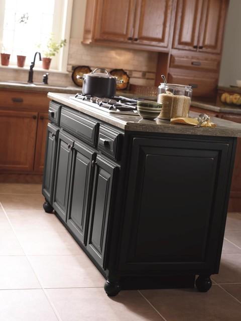 Schrock Cabinetry Brinkman Oak Sahara And Maple Black