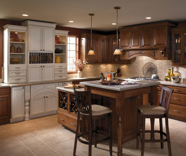 Schrock Cabinetry Cherry Coffee Traditional Kitchen By Bray Scarff