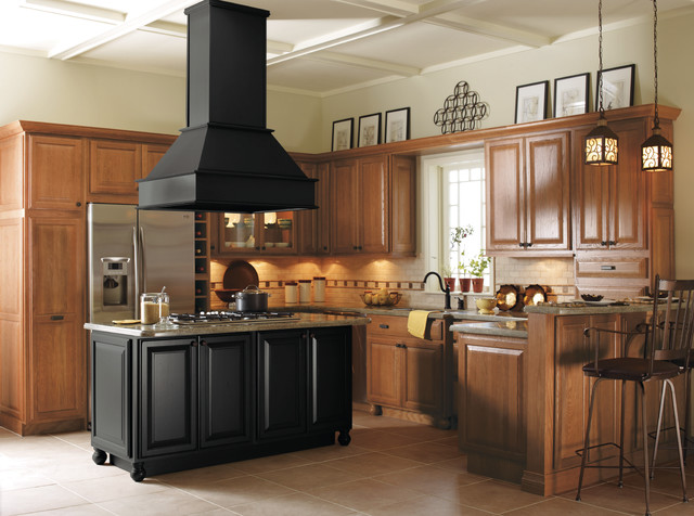 Light oak cabinets with black kitchen island kitchen for Dark kitchen cabinets light island