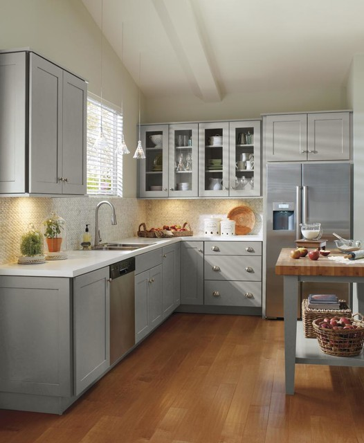Schrock grey kitchen cabinets traditional kitchen for Kitchen ideas light grey