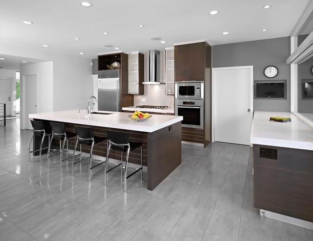 Minimalist Gray Floor Kitchen Photo In Edmonton With Stainless Steel Liances