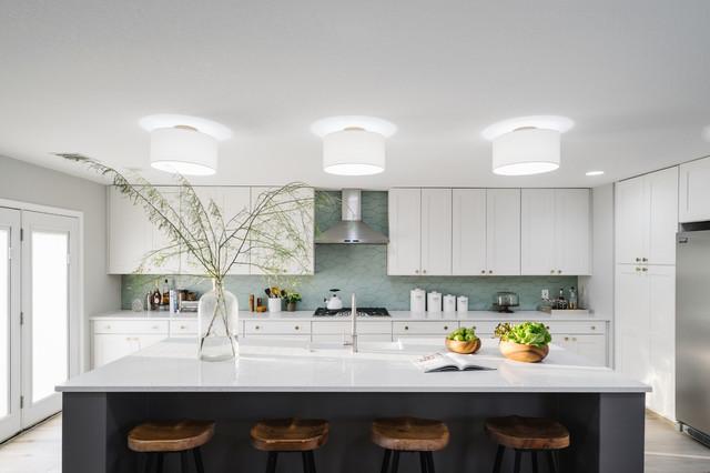 Sea Glass Picket Backplash transitional-kitchen
