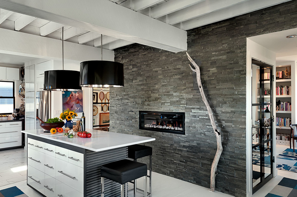Kitchen - modern kitchen idea in Boston with flat-panel cabinets, white cabinets and stainless steel appliances