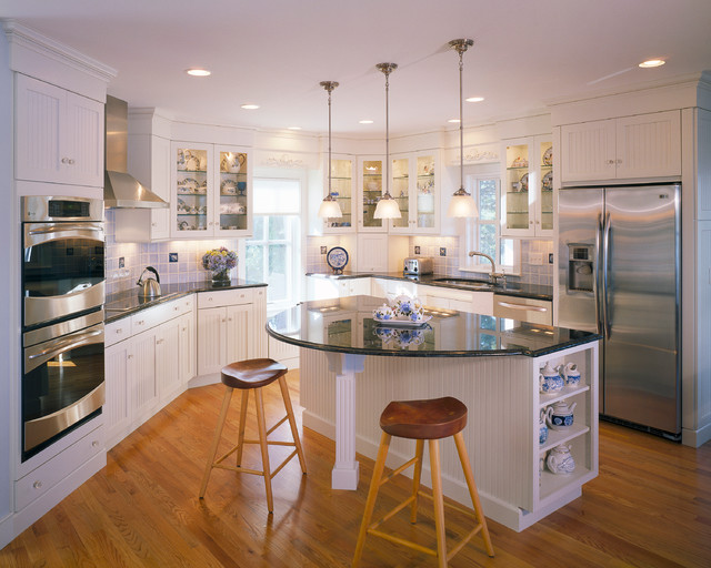 Seapine cottage traditional kitchen boston by for Kitchen island with round seating area