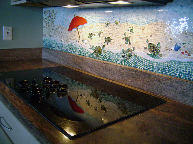 Seascape kitchen backsplash tropical-kitchen
