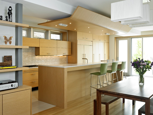 Genial Minimalist Eat In Kitchen Photo In Chicago With Flat Panel Cabinets