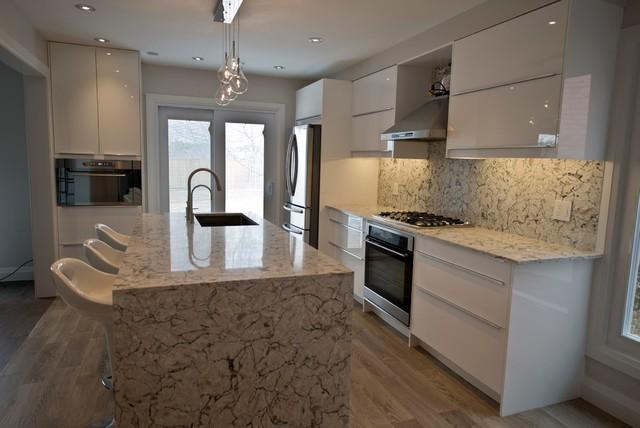 Sektion Ikea Kitchen Glossy White Modern Kitchen