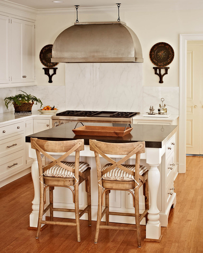 Inspiration for a timeless kitchen remodel in Charlotte with marble countertops