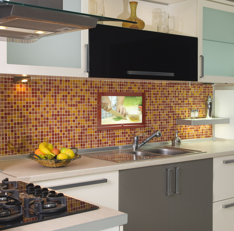 Trendy kitchen photo in Other with a drop-in sink, flat-panel cabinets, white cabinets, multicolored backsplash, mosaic tile backsplash and black appliances
