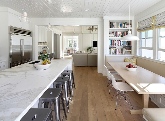 Example Of A Farmhouse Open Concept Kitchen Design In San Francisco With An Undermount Sink