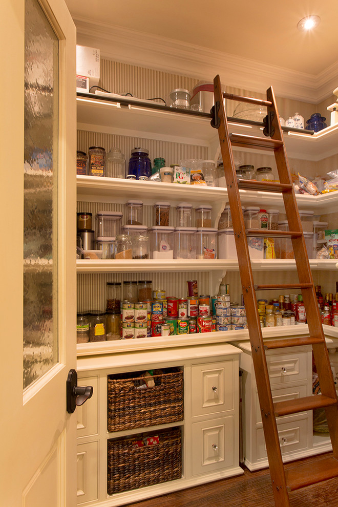 Example of a classic kitchen pantry design in Los Angeles with open cabinets and white cabinets