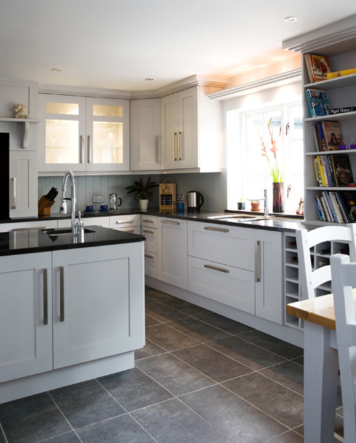 Transitional Kitchens With White Cabinets: Shaker Grey