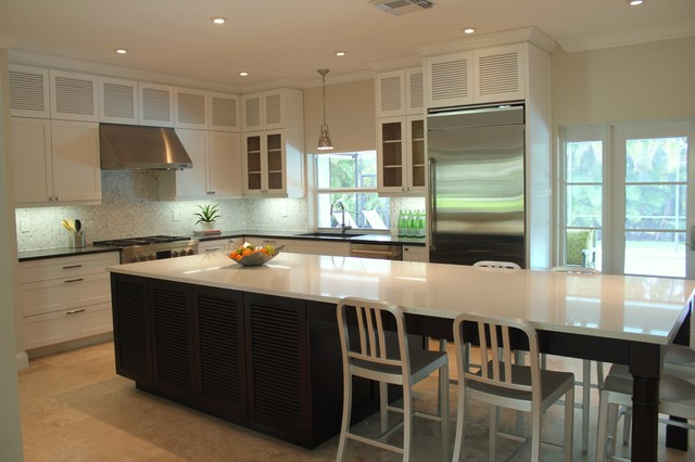 Shaker Louver Solid Wood Custom Made Kitchen Cabinets