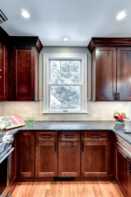 Shaker style cabinets in cherry with a brandy stain ...