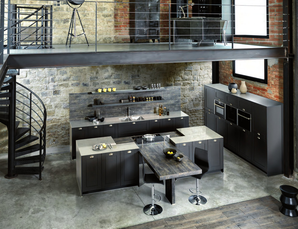 Design ideas for a small modern single-wall open plan kitchen in London with a single-bowl sink, shaker cabinets, grey cabinets, quartz worktops, grey splashback, concrete flooring, an island and grey floors.
