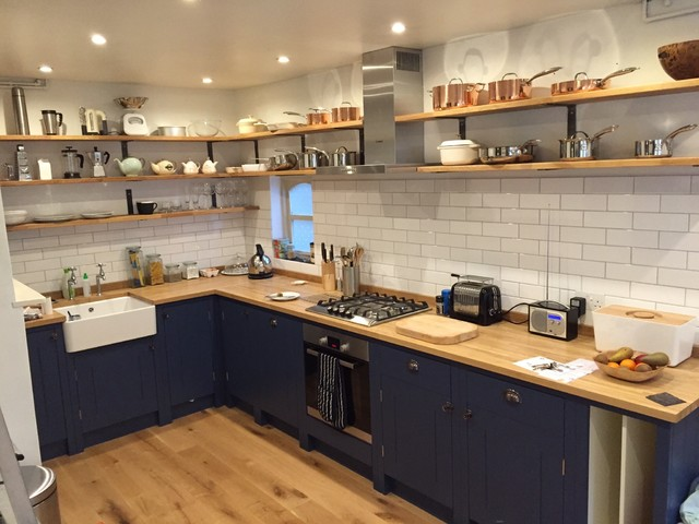 shaker style kitchen with open shelves and metro tiles rh houzz co uk shaker style kitchen shelves shaker style kitchen shelves