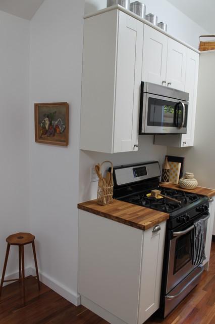 Shaker Style White Cabinets and Butcher Block Counter Tops - Eclectic - Kitchen - los angeles ...