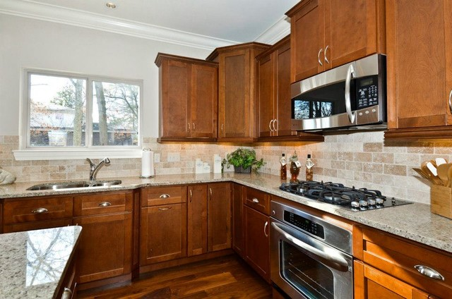 Marvelous Shaker Walnut Cabinets Contemporary Kitchen