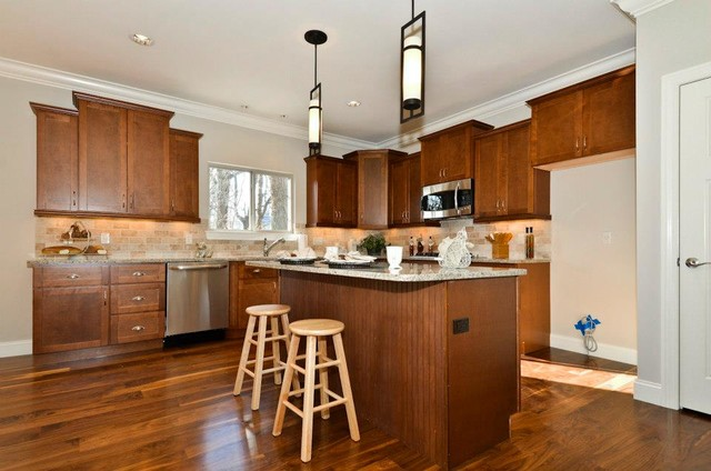 shaker walnut cabinets contemporary kitchen other metro by