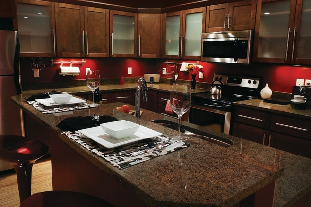 Shaker Walnut Cabinets Contemporary Kitchen