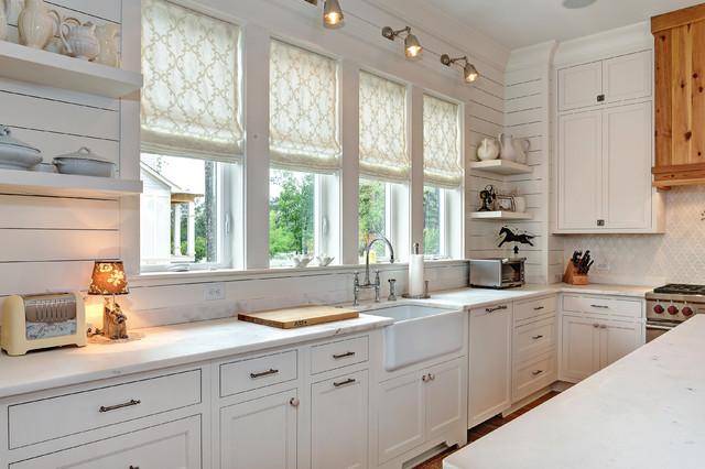 Transitional White Kitchen shaker white inset - transitional - kitchen - charleston -