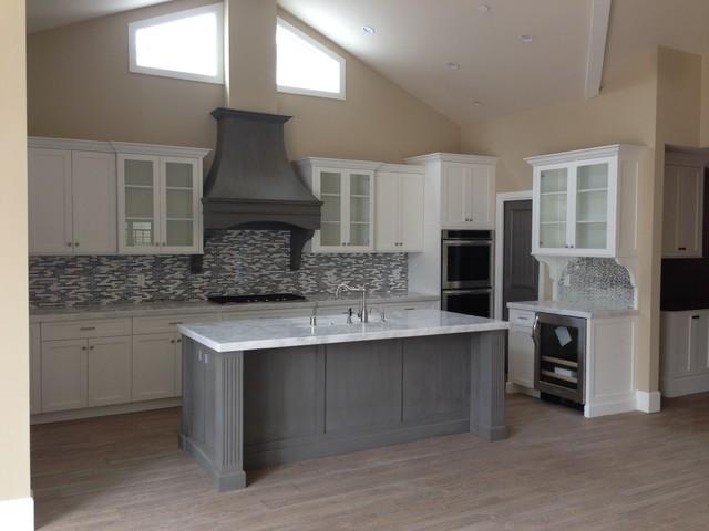 Shaker white kitchen fluted grey island coastal for White kitchen gray island