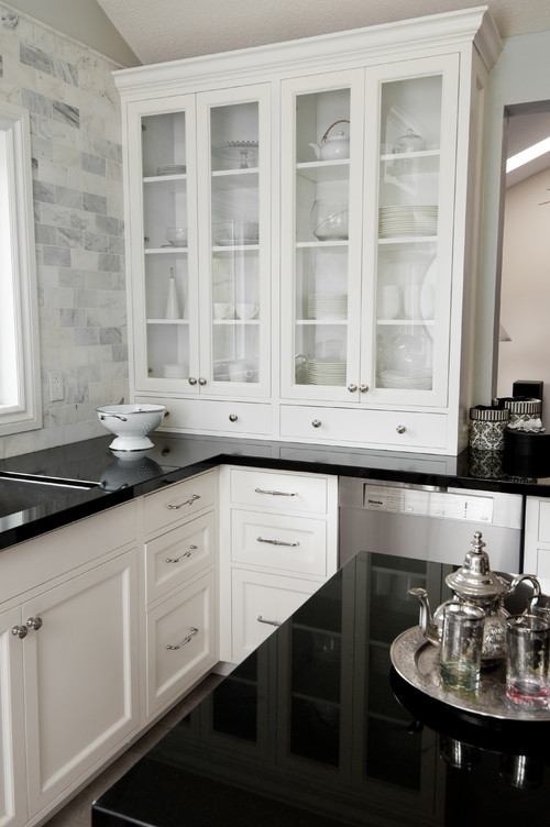 The granite gurus using gray in your kitchen for Kitchen cabinets houzz