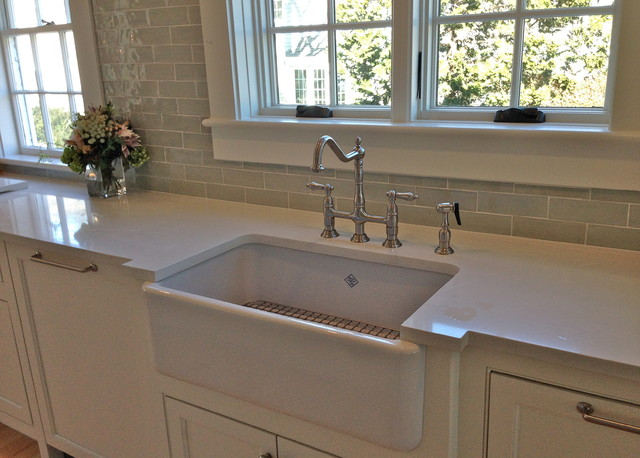 Delightful Shaws Farmers Sink, Bridge Faucet Beach Style Kitchen