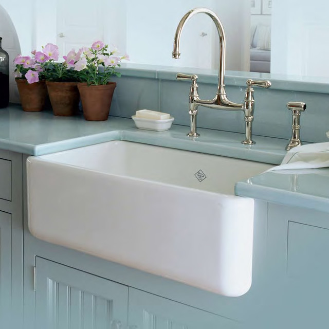 Country Farm Sink : Shaws Farmhouse Sink Rohl - Midcentury - Kitchen Sinks - houston ...