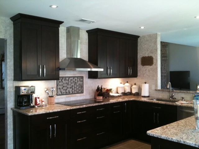 Shenandoah Mission Cherry Java Kitchen - Blue Cabinets In Kitchen