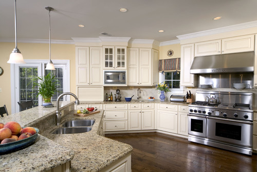 White Ornamental Kitchen Granite Countertops Design Ideas