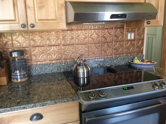 Shiny Copper Backsplash Contemporary Kitchen Tampa