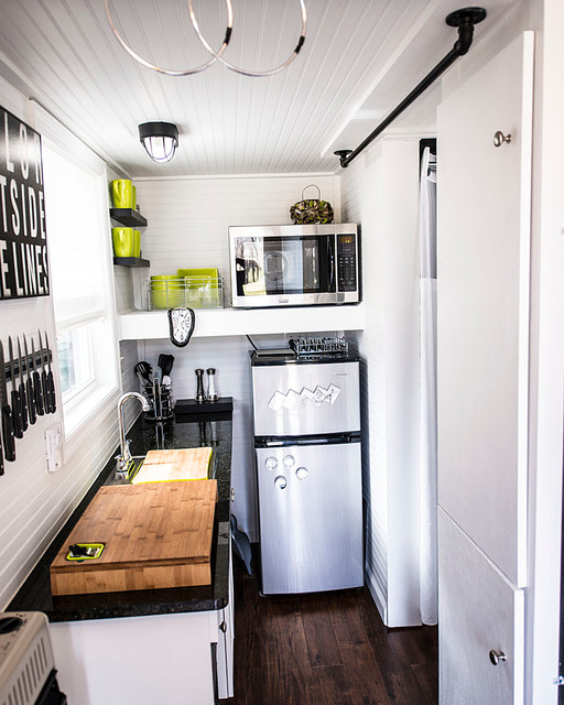 shoebox tiny home eclectic kitchen - Tiny Home Kitchen Design