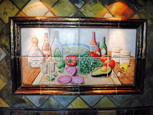shots and salsa mexican happy hour hand painted tiles