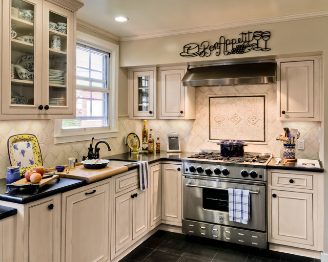 Small Traditional Kitchen showplace wood white inset small kitchen - traditional - kitchen