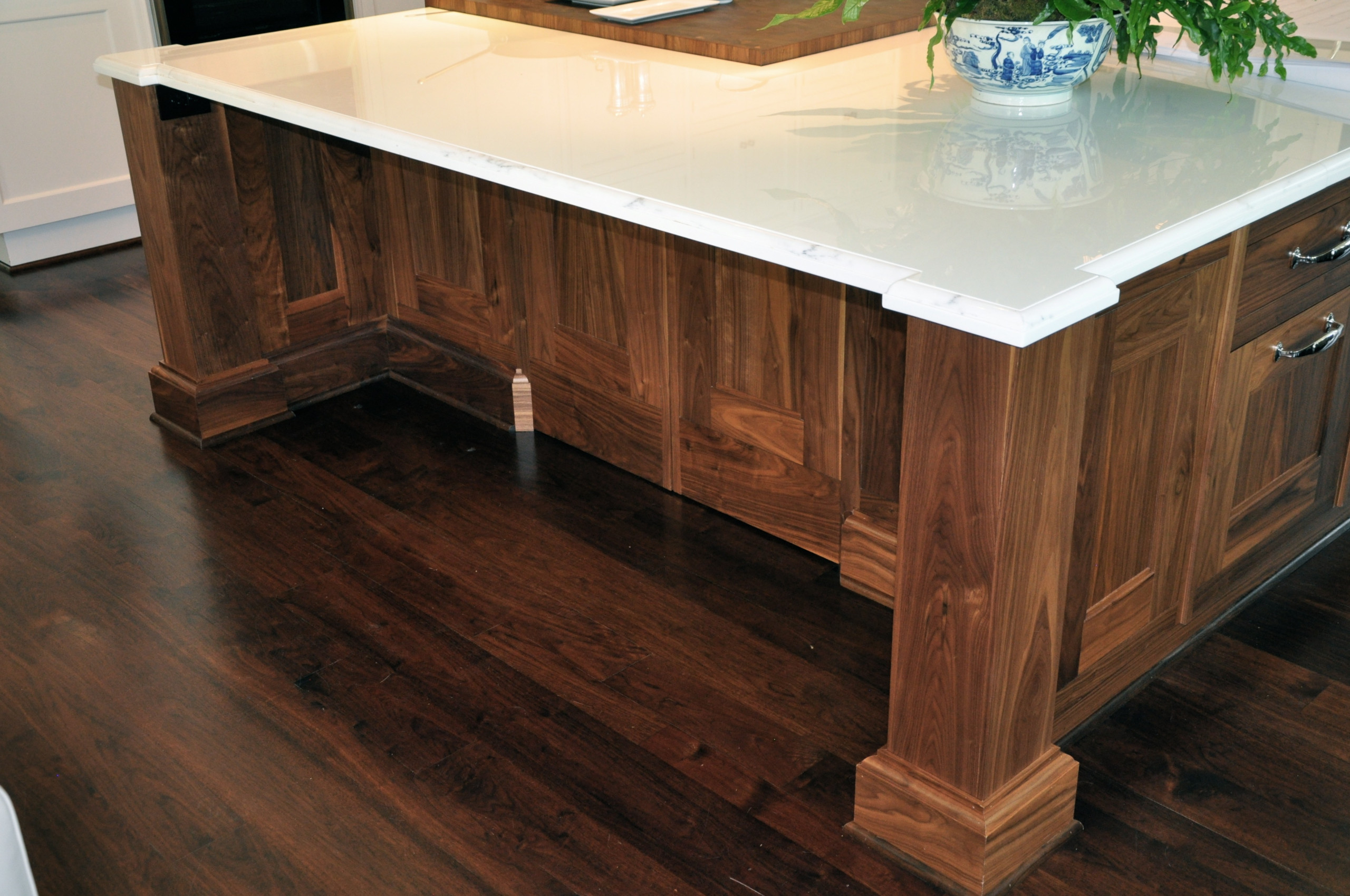 Signature Kitchen with custom made hardware, hand painted with high gloss paint.