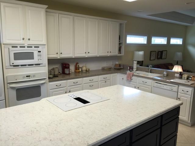 Silestone Lusso Island And Sahara Blue Kitchen Countertops