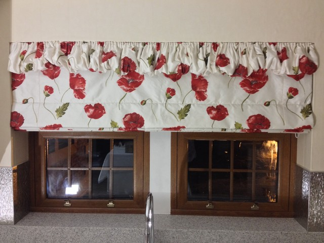 Silk roman blinds with puffball heading for Kitchen roman blinds contemporary