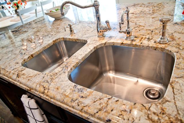 Silver And Gold Granite And Quartz Countertops Traditional Kitchen