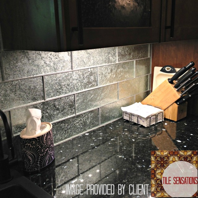 Silver Leaf Gl Tile Backsplash Modern Kitchen